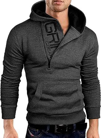 Grin&Bear Felpa con Cappuccio Uomo Slim Fit Sweatshirt GEC401