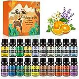 Huiles Essentielles Bio Naturelles Pures, Kit Huiles Essentielles 100% pour Aromathérapie Diffuseurs Ultrasons 20 Saveurs Lav