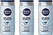 NIVEA Men Pure Impact Shower Gel, 3 x 250 ml