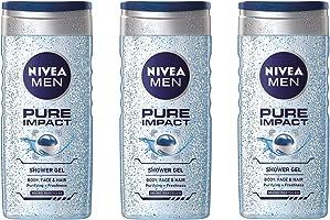 جل استحمام من نيفيا، رجالي، بيور إمباكت 250 ml x 3