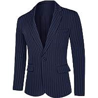 Lars Amadeus Men's Stripes Suit Formal Sport Coats Slim Fit Striped Dress Blazer