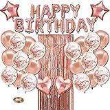 Micacorn Anniversaire Ballon Rose Kit Guirlande Happy Birthday 27pcs, Rideau à Franges, Ballons Confettis, Ballons étoile et