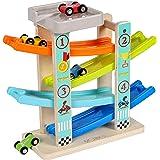 Toys of Wood Oxford Circuit Rampe Voiture - Rampe Jouet en Bois avec Parking Voiture sur Le Toit - Jeu de Course 4 Voitures e