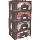 BlushBees Living Box - Cloth Organizer Boxes, Underbed Organizer - 24 Litre, Pack of 4, Espresso Brown,Fabric