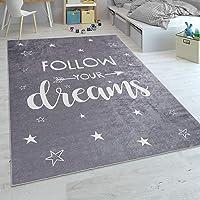 Paco Home Tapis pour Enfant Tapis Lavable Chambre Enfant Étoile Lune Et Carreaux, Dimension:80x150 cm, Couleur…