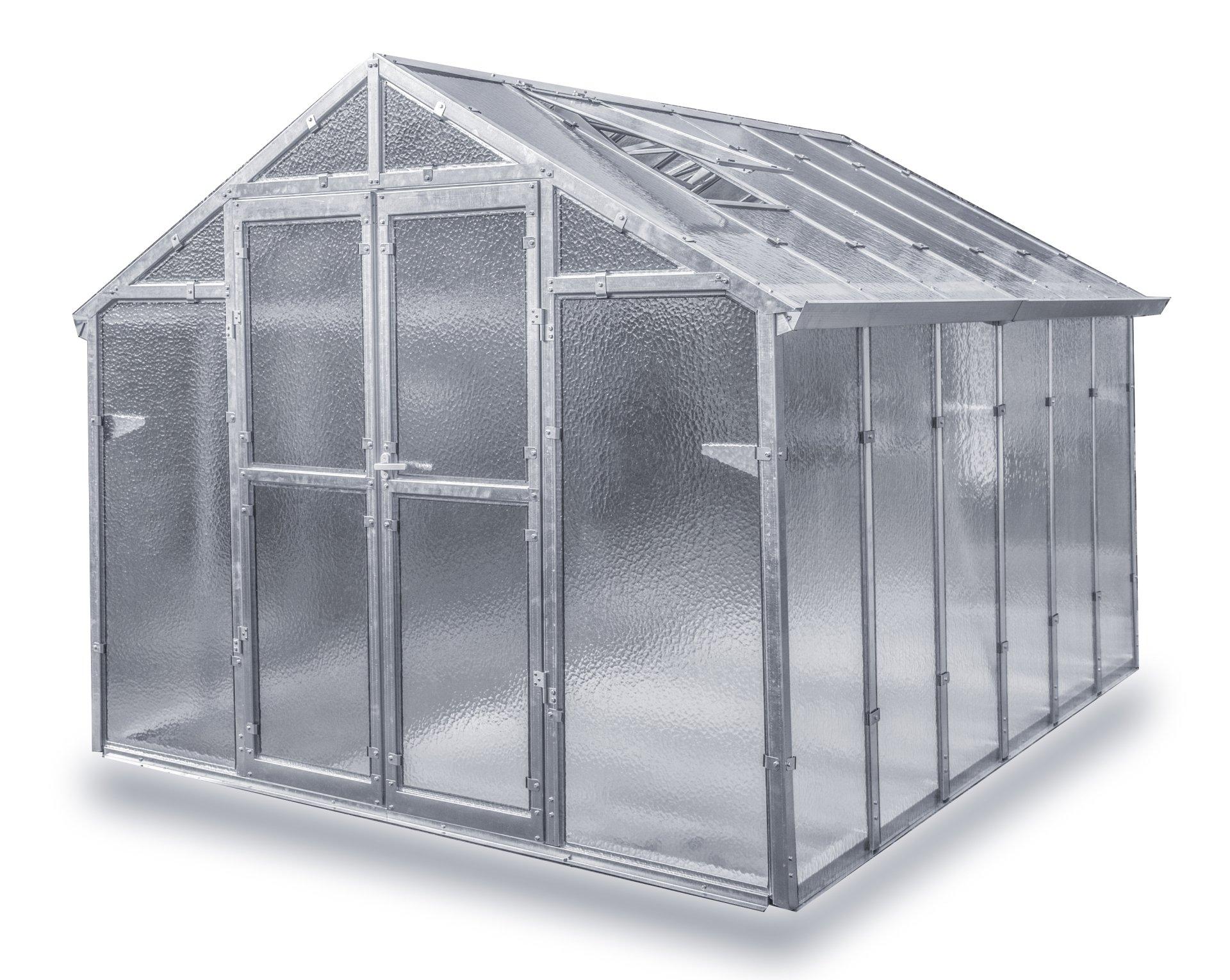 Gewächshaus Junior NEU aus verzinkten Metallprofilen und Echt-Glas, Breite 2,49 m (Länge 3,06 m)