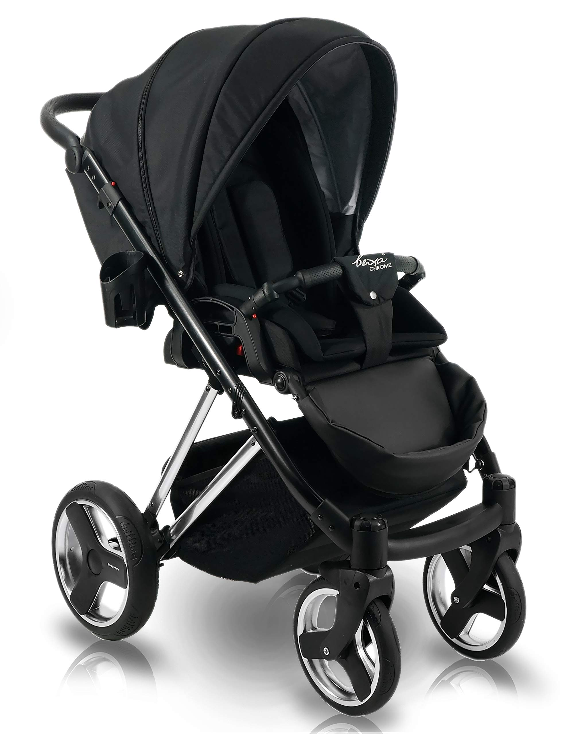 SaintBaby Stroller Buggy Baby seat Car seat Next II Gold Chrome Gold N1 4in1 with Isofix SaintBaby If you want the black frame instead of the gold frame, please inform us after the purchase. 3in1 or 2in1 Selectable. At 3in1 you will also receive the car seat (baby seat). Of course you get the baby tub (classic pram) as well as the buggy attachment (sports seat) no matter if 2in1 or 3in1. The car naturally complies with the EU safety standard EN1888. During production and before shipment, each wagon is carefully inspected so that you can be sure you have one of the best wagons. Saintbaby stands for all-in-one carefree packages, so you will also receive a diaper bag in the same colour as the car as well as rain and insect protection free of charge. With all the colours of this pram you will find the pram of your dreams. 5