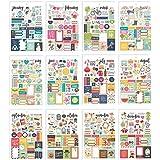 Simple Stories 7974 Lot de 12 autocollants pour planificateur, multicolores, taille A5