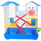 Jainsons Pet Products® Luxury Playhouse Cage with Two Spare Floors | Exercise Wheel | Hide House | Tunnel | Water Bottle and