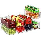 Lot de 8 Boîtes de Rangement Frigo Transparent, Boîte de Conservation des Aliments avec Poignées, Bacs de Rangement Convient