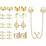 Jstyle 9Pairs Ear Cuff Climber Earrings for Women Ear Crawler Cuff Chain Earrrings Cartilage Helix Lip Clip Jewelry Set