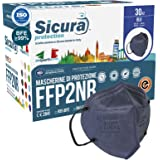 30 Mascherine FFP2 Certificate CE BLU con Elastici Neri SICURA logo impresso BFE ≥99% Made in Italy Mascherina ffp2 SANIFICAT
