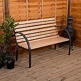 Garden Vida Slatted Garden Bench Wooden Seater Outdoor Furniture Seating Wood Slats Steel Legs Park Patio Seat