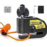 Candado Moto, BUDDYGO Candado Cerradura 7mm con Alarma 110DB Antirrobo, 1.5m Cable Recordatorio, Candado Bolsa, 3 Llaves y Ba