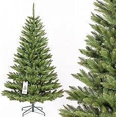 FairyTrees künstlicher Weihnachtsbaum FICHTE Natur, Baumstamm grün, Material PVC, inkl. Metallständer