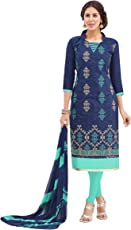 EthnicJunction Women's Party Wear Cotton Jacquard Churidar Embroidered Unstitched Dress Material (Midnight Blue,EJ1125-42)