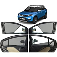 Autofact Half Magnetic Window Sunshades/Curtains for Maruti Brezza [Set of 4pc - Front 2pc Half Without Zipper ; Rear…