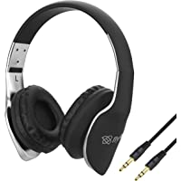 Flybot Alpha 200 Over The Ear Wired Foldable Headphone with 3.5mm Jack (Black Silver)