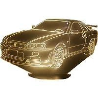 NISSAN GTR R34, Lampada illusione 3D con LED - 7 colori.