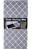 U & U UNIQUE UTILITIES Microfiber Dish Drying Kitchen Mat, 38x50 cm (Grey)