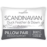 Snuggledown Duck Feather & Down White Pillows 2 Pack Medium Support Designed for Back and Side Sleepers Bed Pillows