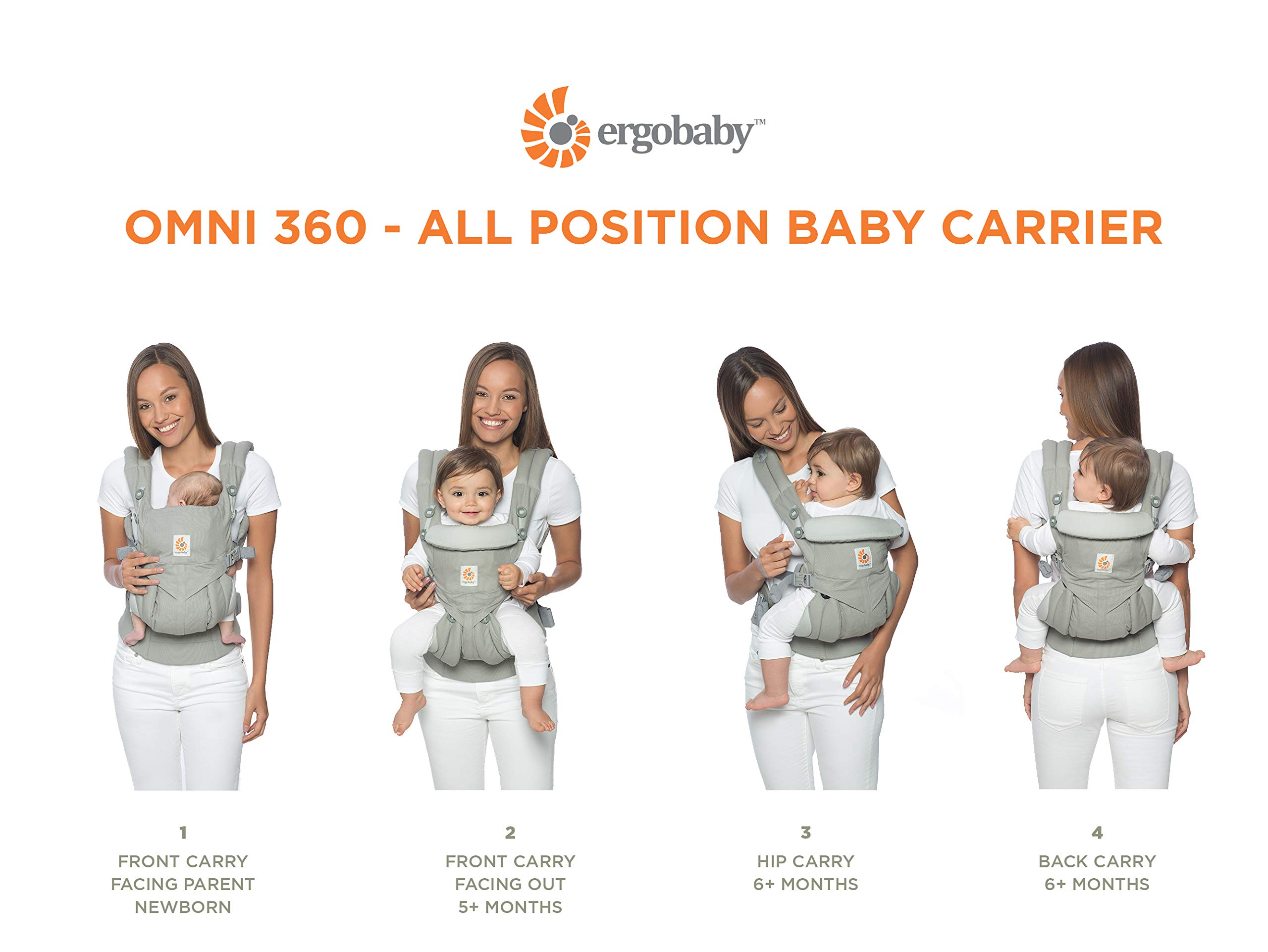 Ergobaby Baby Carrier for Newborn to Toddler, Ergonomic 4-Position Omni 360 Cool Air Midnight Blue, Baby Carrier Front Back Front Facing, Backpack Ergobaby Baby carrier with 4 ergonomic wearing positions: parent facing, on the back, on the hip and on the front facing outwards. four ergonomic carry positions and easy to use. Adapts to baby's growth: infant baby carrier new-born to toddler (7-33 lbs./ 3.2 to 20 kg), no infant insert needed Breathable 3d air mesh material ensures the optimal temperature of the baby. includes removable belt pouch. 4