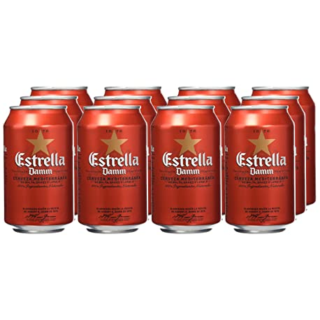 Estrella Damm Cerveza Paquete de 12 latas x 330 ml Total 3960 cl
