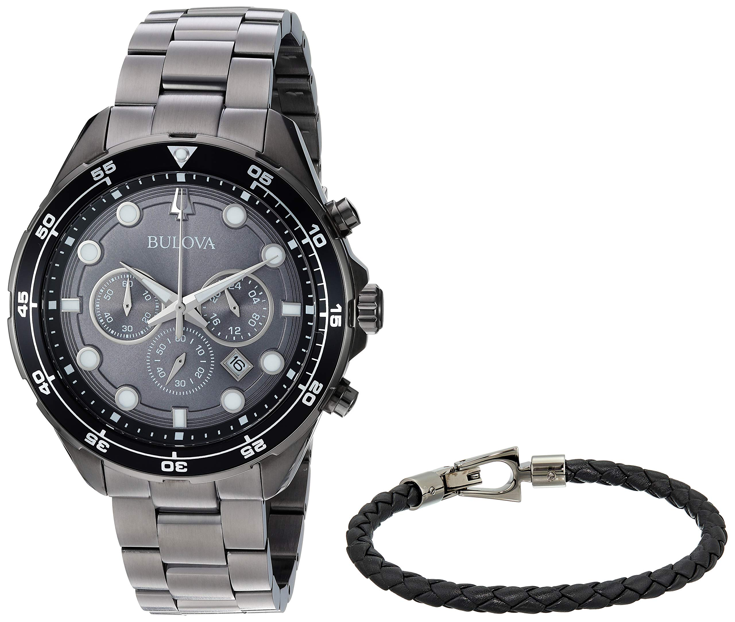 Bulova Mens Chronograph Quartz Watch with Stainless Steel Strap 98K104