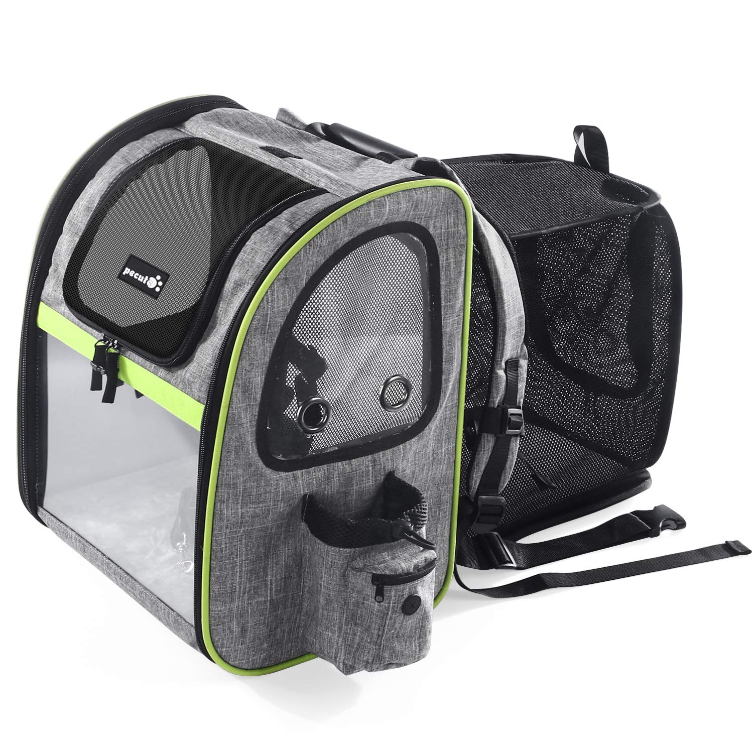 Pecute Pet Carrier Backpack Expandable, Portable Breathable Rucksack with Mesh Opening-Visible Acrylic-Safety Belt-Pockets, Extendable Back More Space Great For Carrying Puppy Dogs Cats Up to 20KG