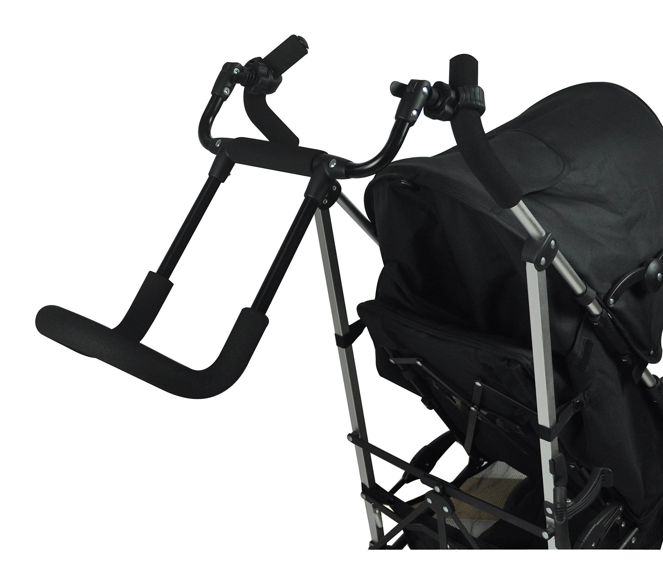 Englacha Cozy Stroll Handle Extension Bar, Black Englacha USA Universal lightweight handle extension bar (aluminum tube) can be installed on any buggy, stroller or pram without extra tools required Allows you control your stroller with just one hand and multitask with your free hand Increases extra at least 12-15 cm space for walking in the back of stroller 3