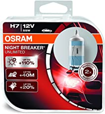 Osram NIGHT BREAKER UNLIMITED H7, Halogen-Scheinwerferlampe, 64210NBU-HCB, 12V PKW, Duobox (2 Stück)
