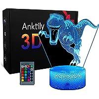 Veilleuse Dinosaure 3D Lampe pour Enfant Garçons Filles,Jouet et Cadeau de Dinosaure, Lampe LED Illusion 16 Couleurs…