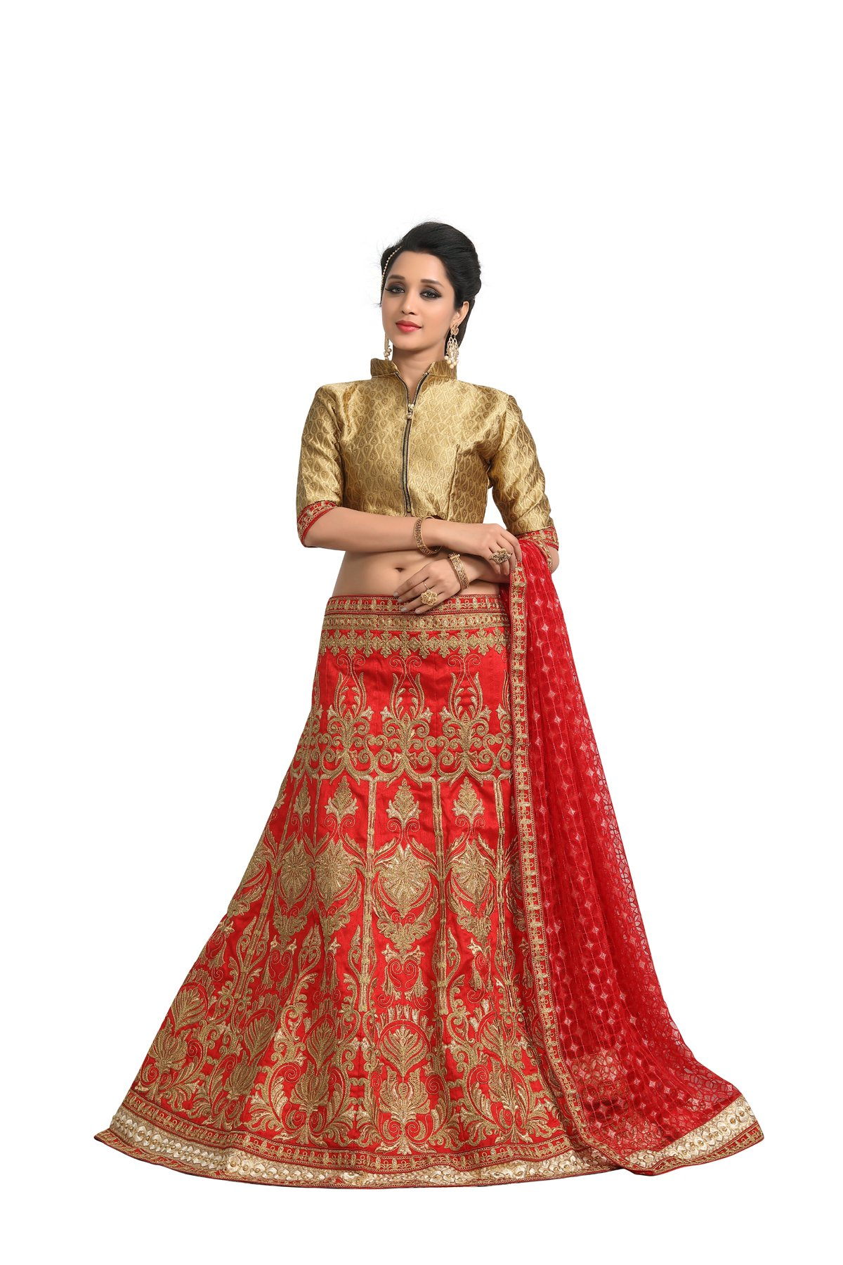 ff1fce3d5 Fab Valley Women Satin Silk Party Wear Wedding Heavy Lehanga Choli ...