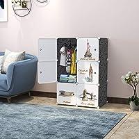 R.K. International 6 Door Plastic Sheet Wardrobe Storage Rack Closest Organizer for Clothes Kids Living Room Bedroom…