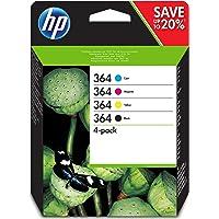 HP 364 Pack de 4 Cartouches d'Encre Cyan, Magenta, Jaune et Noire Authentiques (N9J73AE)