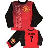 BOYS GIRLS OFFICIALLY LICENCED PERSONALISED MANCHESTER UNITED PJS ANY NAME