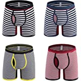 Nuofengkudu 4 Pack Mens Boxer Briefs Striped Open Fly Pouch Multi Pack Breathable Comfortable Stretch No Ride Up Cotton Boxer