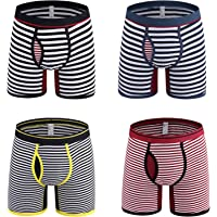 Nuofengkudu 4 Pack Mens Boxer Briefs Striped Open Fly Pouch Multi Pack Breathable Comfortable Stretch No Ride Up Cotton…