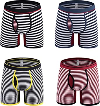 Nuofengkudu 4 Pack Mens Boxer Briefs Striped Open Fly Pouch Multi Pack Breathable Comfortable Stretch No Ride Up Cotton Boxers Shorts Trunks