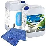 2X 10 L blueSky AdBlue incl. schenktuit + microvezeldoek blauw 38 x 38 cm 220 GSM