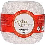 Anchor Freccia 12 fils à crochet 100% coton, Coton, 07901 blanc, Blanc