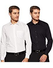 Amazon Brand - Symbol Men's Formal Shirt (Pack of 2)