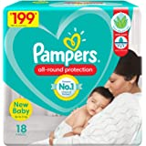 Pampers All round Protection Pants, New Born, Extra Small size baby diapers (NB/XS), 18 Count, Lotion with Aloe Vera