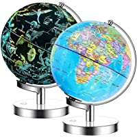 Exerz 23cm Leuchtglobus Metallsockel - Englische Karte Schülerglobus- Beleuchteter Globus Mit Kabelfreier LED…