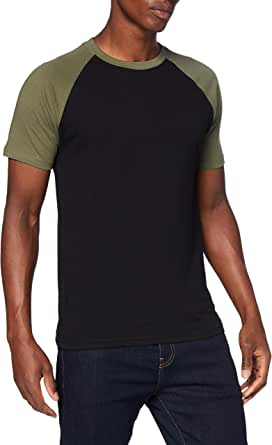 Urban Classics Men's Baseball T-Shirt, Contrast Shortsleeves T-Shirt, Sports Shirt, Crew Neck, 100% Jersey Cotton, Different Colours Available, Sizes: S-5XL