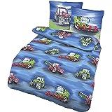 Parure de lit pour garçon avec tracteur & moissonneuse-batteuse – Ferme – 2 pièces – Taie d'oreiller 80 x 80 + housse de coue
