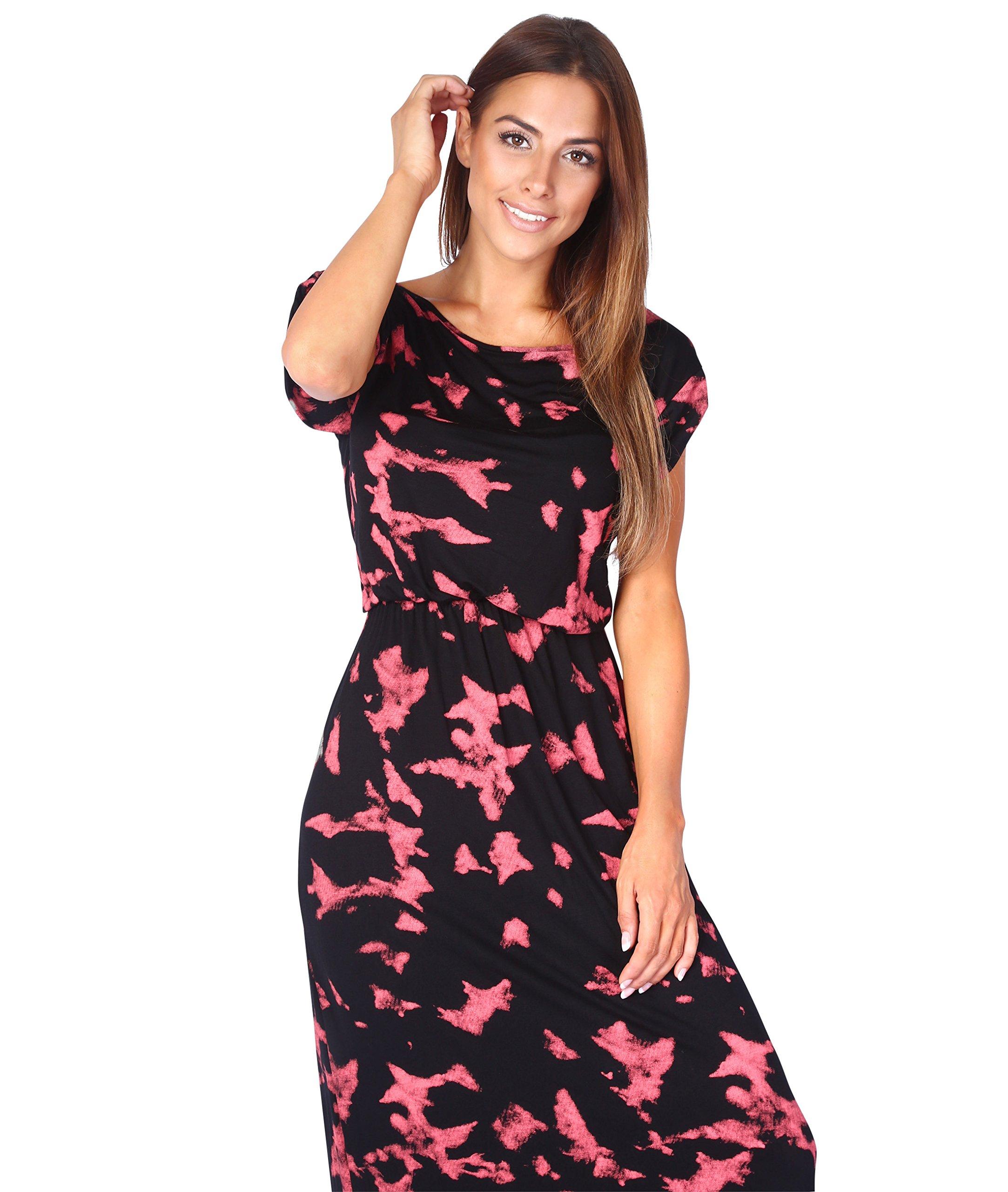 cfc41bd284169b KRISP® Womens Boho Maxi Dress Summer Beach Short Sleeve Tie Dye ...