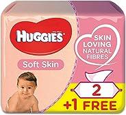 HUGGIES BABY WIPES SOFT SKIN, 2+1 Free, 56s x 3 (168 Wipes)