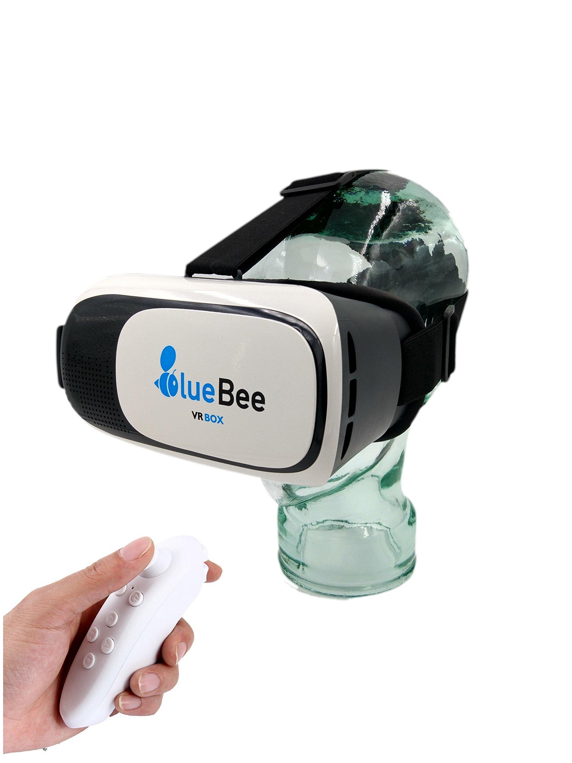 Bluebee Lunettes VR + commande à distance (réalité virtuelle Genuine 3d google lunettes/Casque/Casque/Lunettes pour iPhone/Samsung/Smartphone incluant Bluetooth 3.0jeux Remote Controller)