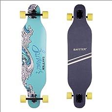 BAYTTER 41 Zoll Skateboard Komplettboard Longboard Cruiser Board aus 9-lagigem Ahornholz 104 x 24 x 10.5cm für Kinder Jugendliche und Erwachsene mit ABEC-11 Kugellager und 7051 PU Rollen
